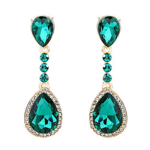Pierced Non Earrings Fancy - BriLove Wedding Bridal Clip-On Earrings for Women Crystal Teardrop Infinity Figure 8 Chandelier Dangle Earrings Emerald Color Gold-Toned