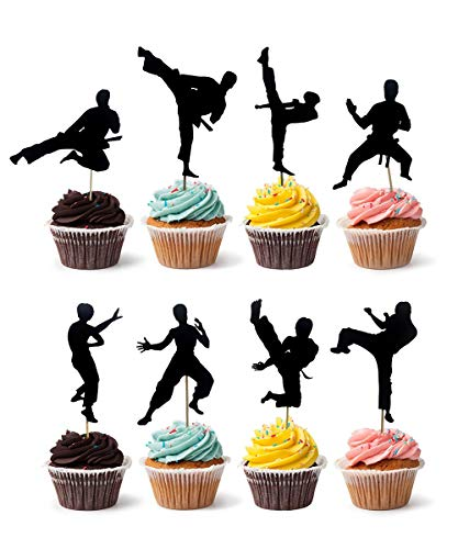 Joinor Set of 24pcs Amazing Kungfu Cupcake Toppers Children Party Cake Decorations