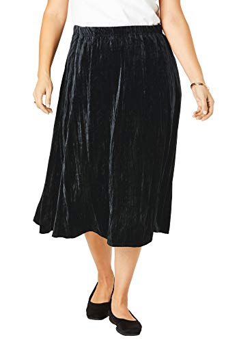 Woman Within Women's Plus Size Crinkled Velour Panne Skirt - 22/24, Black