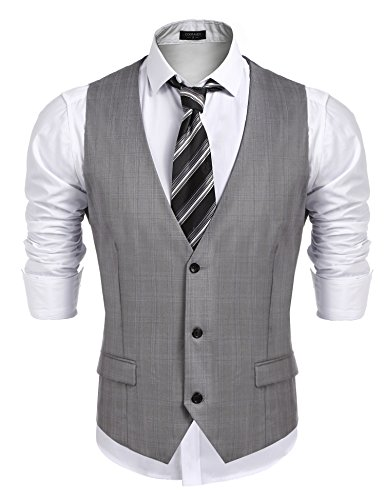 Coofandy Men's Business Suit Vest,Slim Fit Skinny Wedding (Mens Vest)