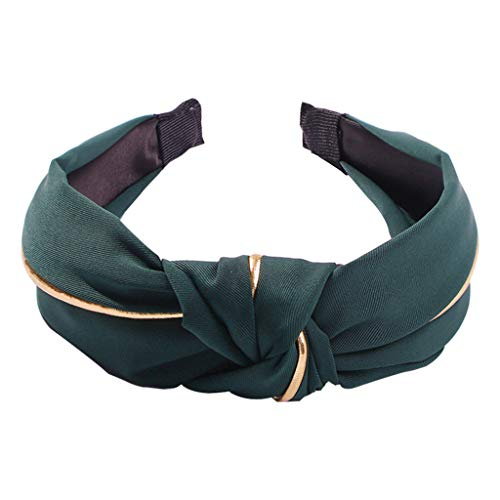 - Women Handmade Bowknot Wide Headband Metallic Gold Striped Patchwork Solid Color Hair Hoop Cloth Wrapped Turban Hair Accessories