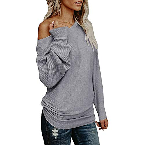 AKwell Womens Off-Shoulder Sweater Casual Knitted Loose Long Sleeve Pullover Long Sweatshirt