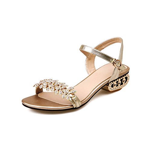 Soft Solid Sandals Buckle Material Women's WeenFashion Open Toe Gold qxw4RPWtAc