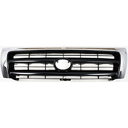 2wd Chrome Grille (Evan-Fischer EVA17772010347 Grille for Toyota Tacoma 98-00 Chrome Shell/Painted-Dark Argent Insert 2WD/4WD W/ Pre-Runner)