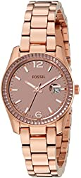 Fossil Women's ES3764 Perfect Boyfriend Small Rose Gold-Tone Stainless Steel Watch with Link Bracelet