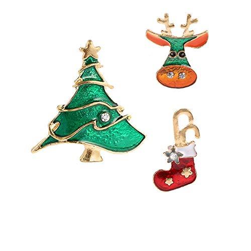 Paquete de 3 piezas Serie de Navidad Broches surtidos Broches Prendedores de campana Reno Juego de alfiler de solapa para...