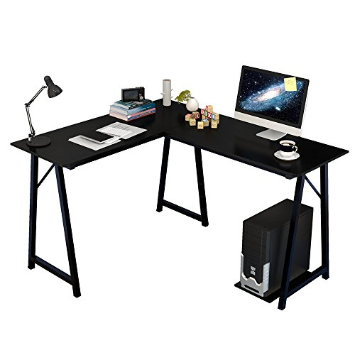 Dland L-shaped Computer Desk Double Home Office Pc Laptop Desk Triangular Fixed T-type Frame Corner