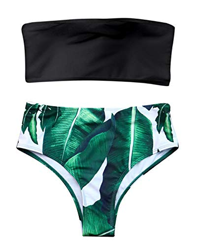 - ZAFUL Women Bandeau Bikini Set Tropical Leaf Printed High Cut Swimsuits Bathing Suit (Black, L)