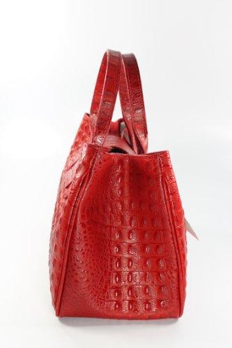 Belli Set 3in1 (Geschenk Set) VERA PELLE! Echt Leder Handtasche + Kosm. Tasche rot Kroko Prägung + Tuch