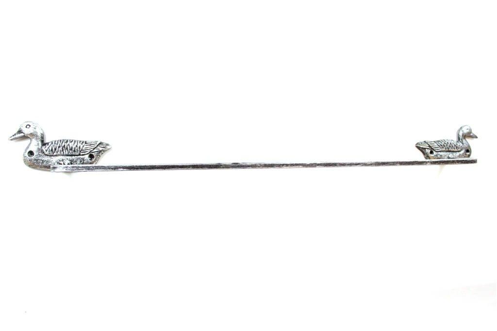 Rustic Silver Cast Iron Mallard Duck Bath Towel Holder 28'' - Animal Decor - Bea by Handcrafted Nautical Decor