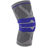 Knee Brace Support Protector, Kneepad Silica Gel Anti-Collision Anti-Slip, Elastic Breathable Compression Knee Sleeve for Sports Arthritis Relief Rnning Basketball Jogging Walking (Men & Women) (Gray)