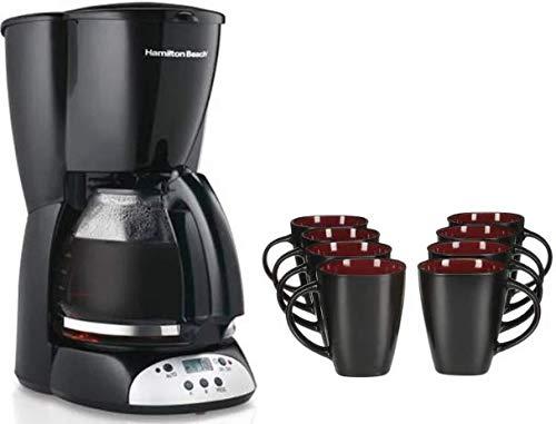 Hamilton Beach 12 Cup Programmable Coffee Maker bundle with Gibson Home Soho Lounge 8-Piece Mug Set, Red/Black by Hamilton Beach + Gibson Home