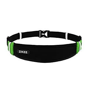 Zikee Running Belt, Waist Pack, Race Belt, Workout Pouch, Fanny Pack for Sports Men and Women, Fits Iphone 6/6s 6plus, Samsung Galaxy, Slim&Lightweight, Suitable for Fitness, Jogging, Cycling - Black