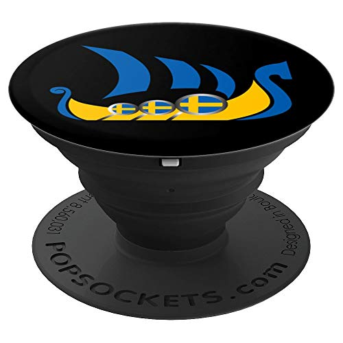 Sweden Viking Ship Swedish Flag Dragon Boat - PopSockets Grip and Stand for Phones and Tablets