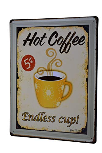 H&K Endless Cup Coffee Retro Metal Tin Sign Posters Kitchen Café Diner Restaurant Wall Decor 12X16-Inch ()