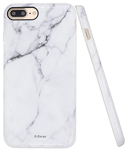 Iphone 7 Plus Case, A-Focus IMD Design White Marble Pattern Stone Texture...