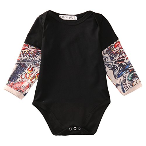 Newborn Baby Boy Fake Tattoo Sleeve Romper One Piece Bodysuit