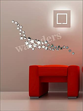 Wall1ders   Star Silver (Pack Of 24) 3D Mirror 3D Acrylic Wall Sticker, Part 76
