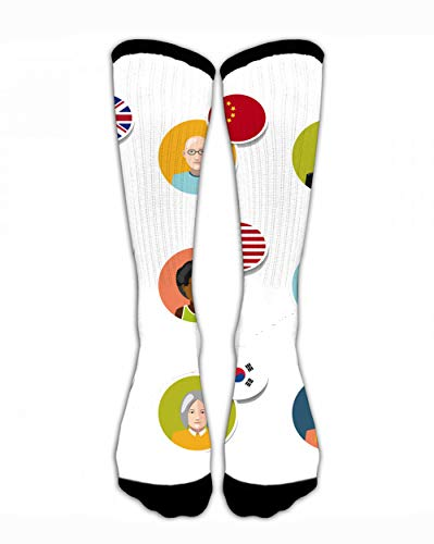 (SARA NELL Women Lady Girls Classic Crew Compression Socks Nine Colorful User with Different Language Personalized Athletic Socks 44Cm)