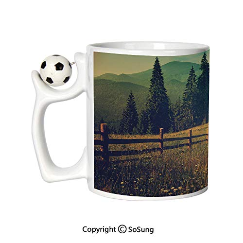 Nature Sports Football Mug,Mountain Valley with Fir Tree Flower Field Fences Rural Panorama Decorative Ceramic Coffee Cup,Dark and Forest Green Cinnamon,Great Novelty Gift for Kids & Audlt