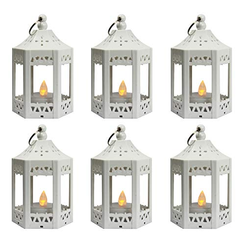 6pc Mini White Candle Lanterns with Flickering LED Tea Light Candle, Batteries Included]()