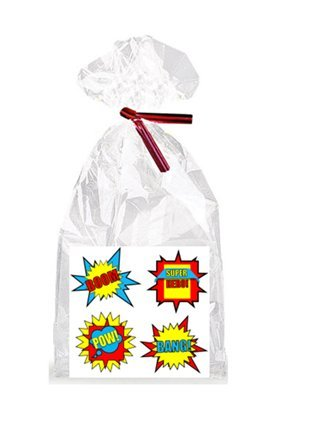 Boy's Super Hero Birthday Theme Party Supplies - 12 Party Favor Bags with Twist Ties