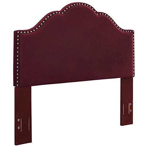 (Crosley Furniture CF90007-501ME Preston Camelback Upholstered Headboard, Full/Queen, Merlot)