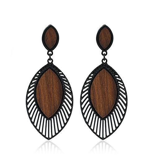 SIVITE Vintage Leaf Teardrop Wood Grain Earrings Boho Ethnic Statement Dangle Drop Earrings for Women