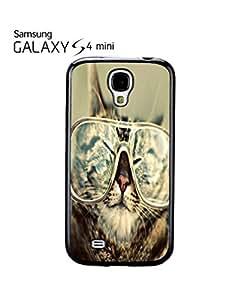 chen-shop design Geek Cat Kitten Nerd Glasses Mobile Cell Phone Case Samsung Galaxy S4 Mini Black high quality