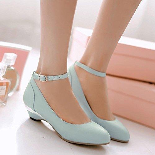 Latasa Womens Fashion Ankle-strap Low-heel Pumps Shoes Light Blue YqOY8pbzM