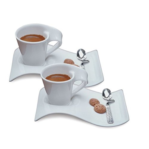 - Villeroy & Boch New Wave Caffe Espresso Cups, Saucers and Spoons Set