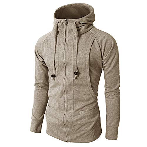 Long Hoodie MCYs Zipper Tops Sleeve Autumn Sport Blouse Winter Khaki Fashion Pullover Mens' qTqpA