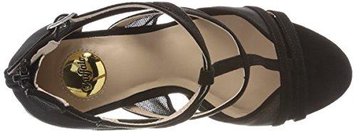 Black IMI Suede Mesh Women's Ankle Strap Black 1715s90 3 01 Sandals 001 Buffalo W4zxtnW