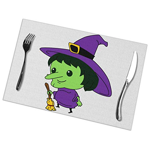 Affany Placemats for Dining Table, Heat Insulation Stain Resistant Table Mat Set of 6 Non Slip Washable Tray Mat Durable Place Mats for Kitchen Dining Room Table Decoration - Evil Witch Ghost]()