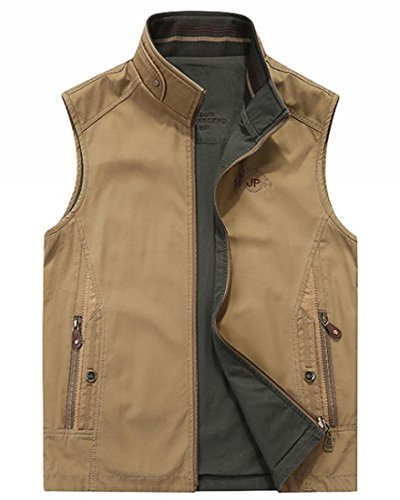 Reversible Two Pocket Vest - Gihuo Men's Reversible 100% Cotton Outdoor Travel Vest (Khaki, Large)