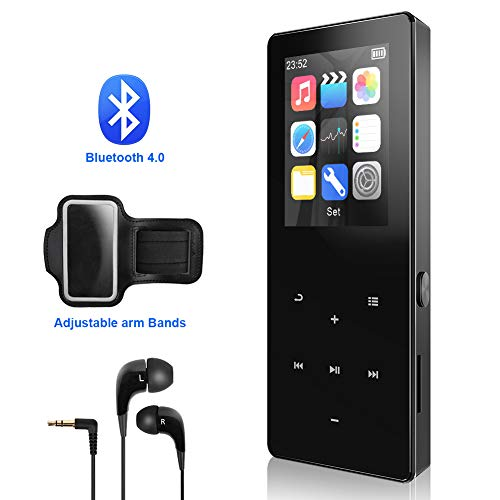 Mp3 Player,8GB with Bluetooth 4.0 Ultra Slim Portable Lossless Digital Audio Player with FM Radio/Voice Recorder/Video Play.Expandable Up to 128 GB(Metal Shell Touch Buttons)