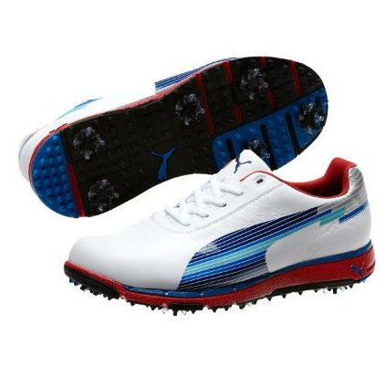 PUMA Men's Faas Trac Speed Golf Shoe,White/Limoges/Ribbon Red,9 D US
