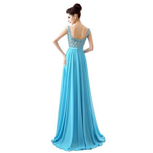 Ikerenwedding - Vestido - corte imperio - para mujer azul claro