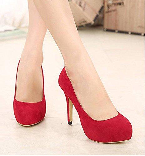 Easemax Mujeres Elegant Stiletto Round Toe Low Top Slip En La Plataforma Sólida Bombas De Tacón Alto Zapatos Rojo