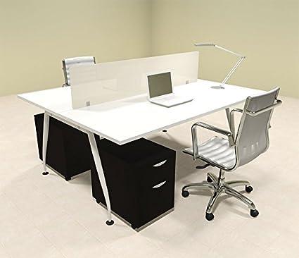 Amazon Com Two Person Modern Divider Office Workstation Desk Set