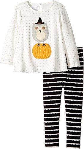 Mud Pie Baby Girl's Halloween Owl Tunic & Leggings Set (Infant) White Clothing Set (Halloween Mud Pie Clothes)