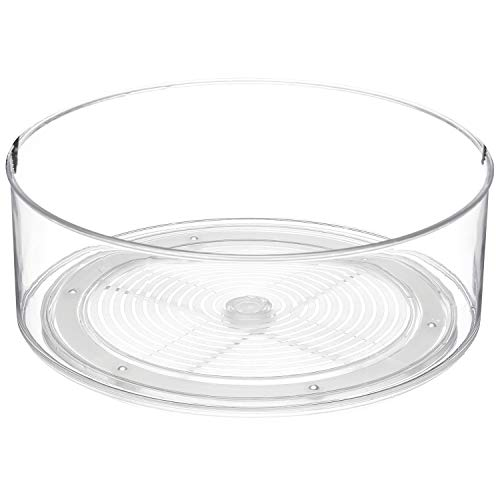 Home Intuition Round Plastic Lazy Susan Turntable Food Storage Container for Kitchen