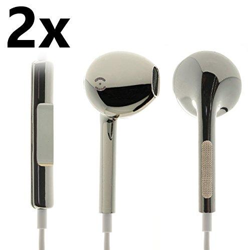 2xiProtect® Premium In-Ear Stereo Kopfhörer Headset metallic silber für alle Modelle wie z.B. Sony, Samsung, LG, Huawei, HTC, uvm.– edles Design und hoher Tragekomfort