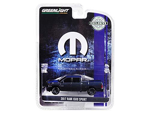 (2017 Dodge Ram 1500 Sport Pickup Truck with Bed Cover Metallic Dark Blue & Blue Stripe Mopar Hobby Exclusive 1/64 Diecast Car by Greenlight 30013)