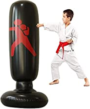 63in Punching Bag for Kids and Adults, Free Inflatable Standing Boxing Bag Immediate Bounce, Great for Karate,