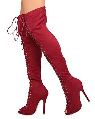Liliana Fc02 In Finta Pelle Scamosciata Con Tacco Alto In Peep Lace Up Boot Boot Wine