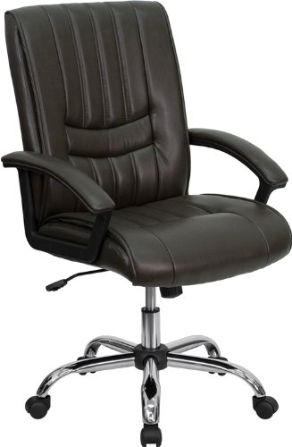 Flash Furniture Mid-Back Espresso Brown Leather Swivel Manager's Chair with Arms