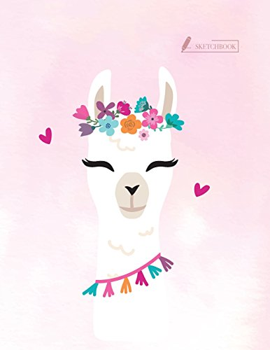 Sketch book Cute llama cover (8.5 x 11) inches 110 pages, Blank Unlined Paper for Sketching, Drawing, Whiting, Journaling & Doodling (Cute llama sketchbook,) (Volume 1) [story, Char] (Tapa Blanda)