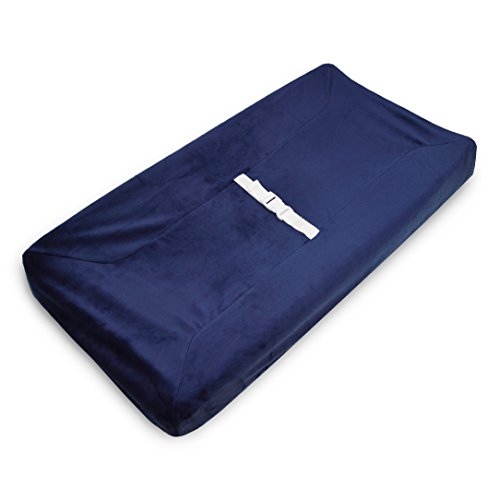 American Baby Company Heavenly Soft Chenille Fitted Contoured Changing Pad Cover, Navy, for Boys