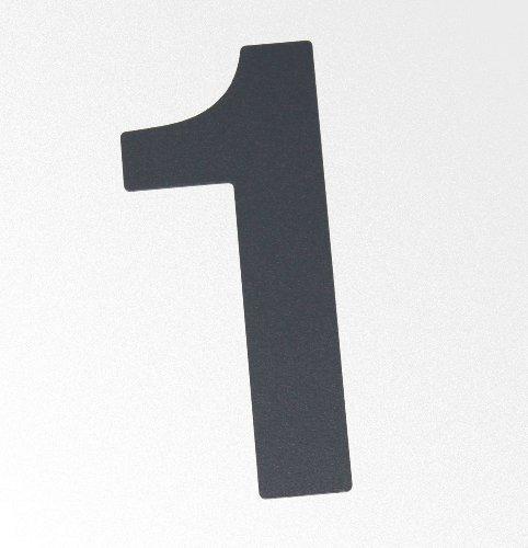 Große Thorwa® Design Edelstahl Hausnummer 1, anthrazit beschichtet, inkl. Montagematerial / H: 200mm / Farbe: grau-schwarz / RAL 7016